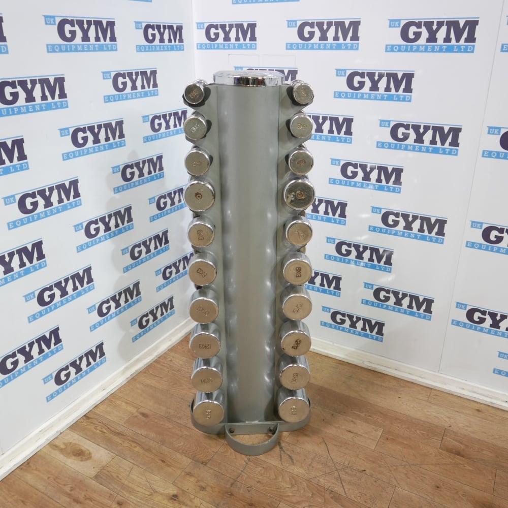 6fbcf6917144 2 - 16kg Set of Used Chrome Dumbbells   Rack (Heavily Worn) - Strength  Training from UK Gym Equipment Ltd UK