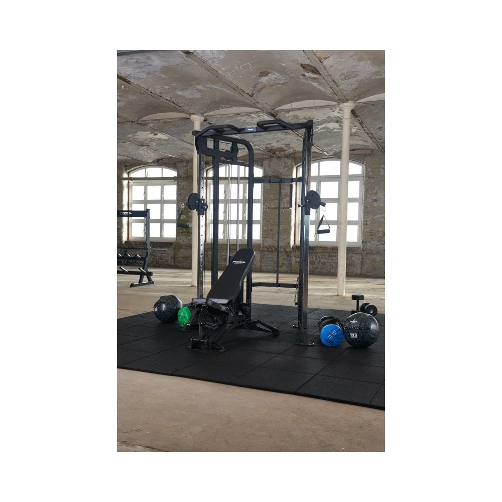 Compact dual adjustable pulley functional trainer home use