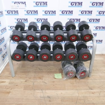 28 - 48kg Set of New Escape SBX Dumbbells & Used Technogym Rack