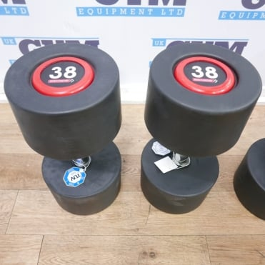 Pair of 38kg SBX Rubber Dumbbells