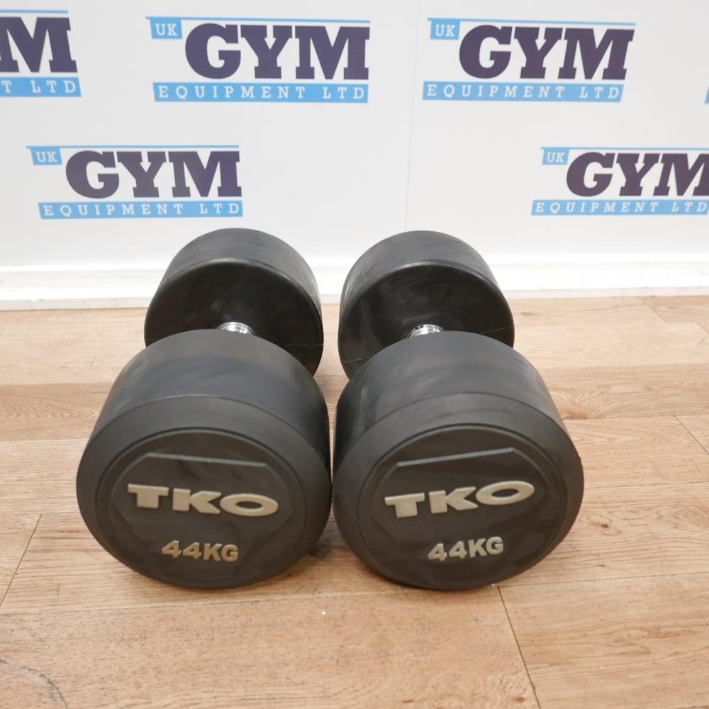 Pair Of Tko 44kg Rubber Dumbbells