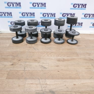 10 x Used 4kg - 36kg Single Dumbbells