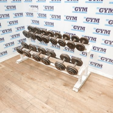 Used 10 - 27.5kg Cast Iron Dumbbells & Rack (7 Pairs)