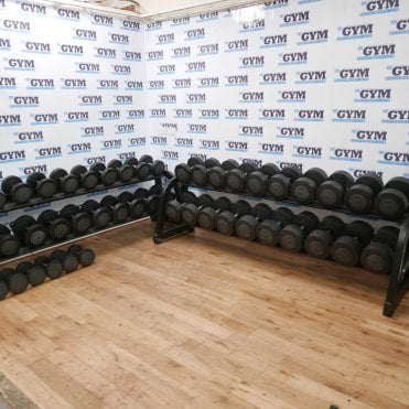 Used 6 - 50kg Urethane Dumbbells & 2 x Racks